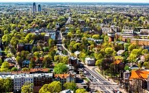 Картинка деревья, город, дома, вид сверху, улицы, Латвия, Riga