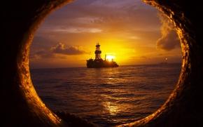 Картинка море, закат, корабль
