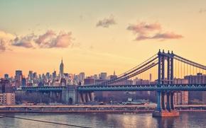 Картинка Манхэттен, мост, New York City, Нью-Йорк