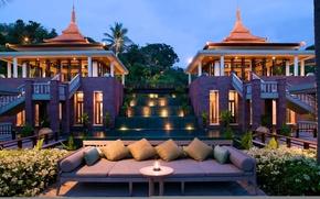 Картинка вечер, освещение, отель, Phuket, Thailand, Trisara hotel