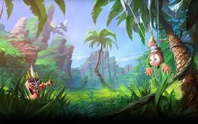 Картинка трава, пальмы, червяки, worms