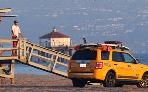 Обои пляж, Ford, спасатели, escape, 272