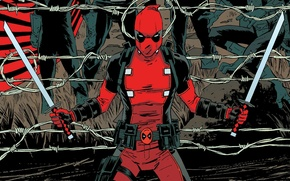 Картинка Колючая проволока, Deadpool, Дэдпул, комикс, MARVEL, Марвел, Катаны, Уэйд Уилсон, Wade Wilson, Враги