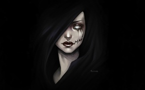 Обои взгляд, капюшон, арт, девушка, черный фон, рот, тьма, фантастика