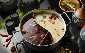 Обои кастрюля, суп, чай, перец