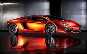 Картинка supercar, orange, ламборгини, автообои, Lamborghini Aventador, hq wallpaper