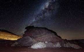 Картинка ночь, камень, звёздное небо