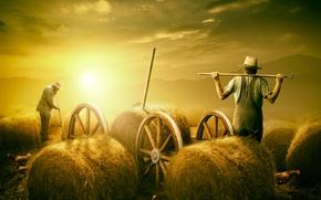 Картинка лето, жара, сено, фермер, страда