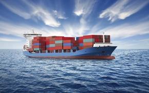 Картинка море, облака, корабль, контейнеровоз, океаннебо