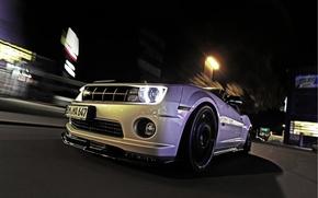 Картинка Ночь, Город, Chevrolet, Camaro, Фары, Передок, Magnet