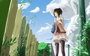 Картинка Зонтик, girl, Anime, kyaro54, kyaro, Забор.
