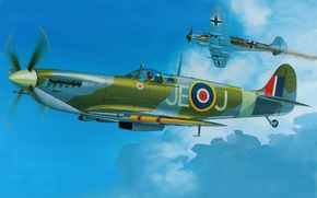 Картинка aircraft, war, art, spitfire, airplane, aviation, ww2, dogfight, bf 109, british fighter