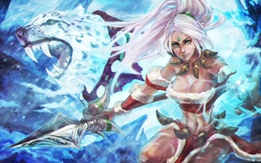 Картинка девушка, красота, арт, охотник, lol, League of Legends, Nidalee, Bestial Huntress, Snow Bunny
