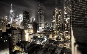 Картинка ночь, город, здания, нью-йорк