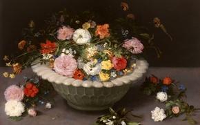Картинка листья, лепестки, ваза, Ян Брейгель старший, Натюрморт с Цветами