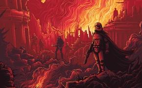 Картинка оружие, фантастика, огонь, вектор, арт, развалины, штурмовики, Star Wars: The Force Awakens, Звёздные войны: Пробуждение …