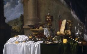 Картинка ваза, картина, Андрис Бенедетти, Стол с Десертом, устрицы, натюрморт, фрукты, еда, корзина, кувшин