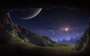 Обои трава, планеты, скалы, звезды, пещера