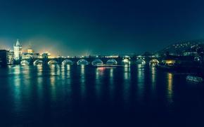 Картинка ночь, мост, огни, река, Прага, Чехия
