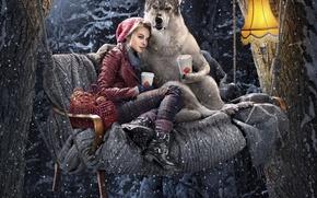 Картинка зима, лес, снег, качели, лампа, волк, кофе, красная шапочка, объятья, пирожки