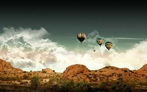 Обои небо, облака, мечты, шары