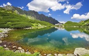 Картинка горы, природа, прозрачная, далеке, домик., озеро, вода, лето, небо