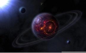 Картинка фантастика, огонь, планета, кольца