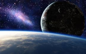 Картинка космос, звезды, огни, города, планеты, арт