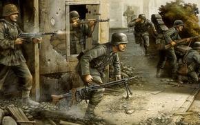 Картинка война, рисунок, бой, солдаты, немцы, flames of war, бегают