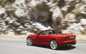 Картинка Jaguar, f-type, ягуар, вид сбоку, красная, кабриолет, движение