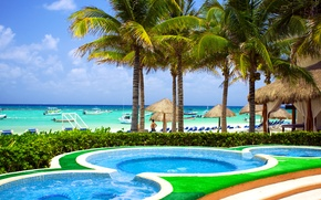 Картинка море, пляж, небо, облака, тропики, пальмы, отдых, берег, яхты, бассейн, горизонт, солнечно, Карибы, Caribbean