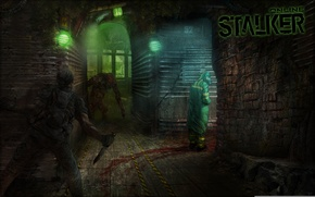 Обои метро, монстр, солдат, Stalker, подземка, ученый