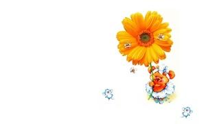 Картинка мышка, арт, мишка, пчёлка, цветочек, детская