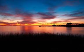 Картинка небо, трава, облака, пейзаж, закат, обои, берег, вечер
