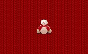 Обои снеговик, минимализм, зима, крисмас, New Year, Christmas, свитер, Новый год, Рождество, вязка