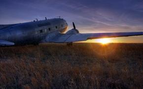 Картинка пейзаж, закат, самолёт