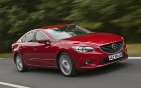 Картинка красный, скорость, Авто, Mazda, седан
