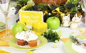 Картинка цветы, стол, яйца, Пасха, cake, кулич, flowers, Easter, eggs, holiday, blessed