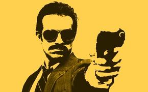 Картинка желтый, пистолет, рисунок, Минимализм, очки, мужчина, детектив, коп, cop