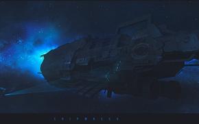 Картинка space, blue, stars, spaceships, shipwreck