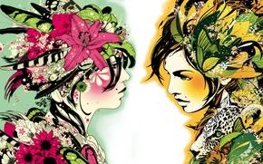 Картинка цветы, цвет, Девушки, красиво, ярко, нарисованны