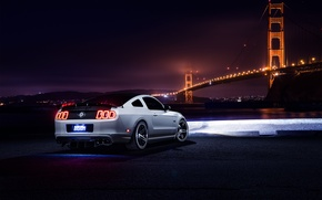 Картинка Mustang, Ford, Muscle, Car, Bridge, White, Collection, Aristo, Rear, Nigth