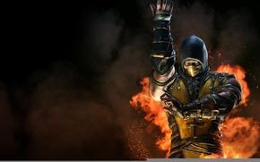 Картинка Желтый, Огонь, Ниндзя, Скорпион, Боец, Мортал Комбат, Scorpion, Mortal Kombat X