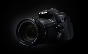 Картинка фотоаппарат, черный фон, Canon, 60D