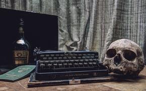 Картинка череп, бутылка, пишущая машинка, паспорт
