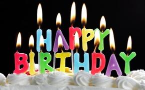 Обои огонь, пламя, день рождения, праздник, сладость, крем, поздравление, свечки, fire. flame, happy birthday, candles