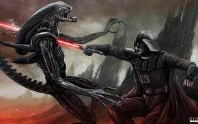 Обои star wars, Darth Vader, alien, crossover, Xenomorph