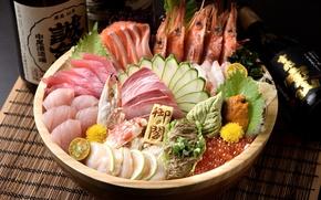 Картинка икра, креветки, морепродукты, лосось, ассорти, тунец