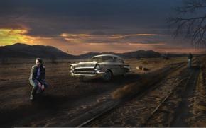 Обои дорога, машина, девушка, пустош
