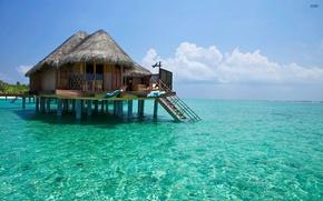 Картинка вода, океан, прозрачная, экзотика, бунгало, Maldives
